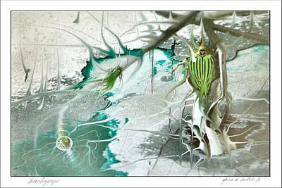 Digital Art - Greenbugscape 2003 by Glenn Bautista