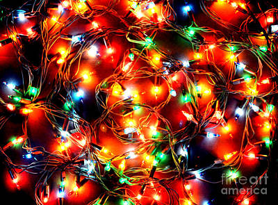 Photograph - Greeting Card Christmas Color Lights by Christopher Shellhammer
