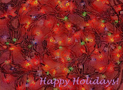 Photograph - Greeting Card Colorful Blubs Happy Holidays by Christopher Shellhammer