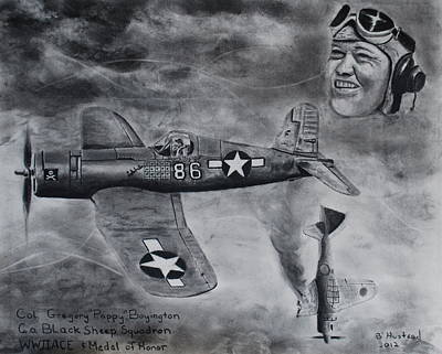 Drawing - Gregory Pappy Boyington by Brian Hustead