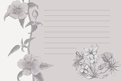 Grey Floral Card Art Print