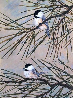 Grey Pine Chickadees Art Print
