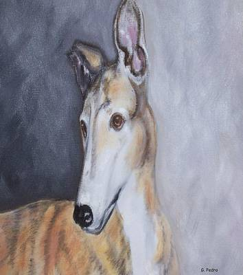 Rescued Greyhound Painting - Greyhound In Thought by George Pedro