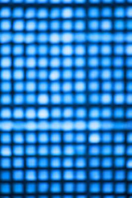 Grid Of Blue Lights, Defocused Art Print by Brian Stablyk