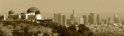 Griffith And Los Angeles Sepia Art Print by Ricky Barnard