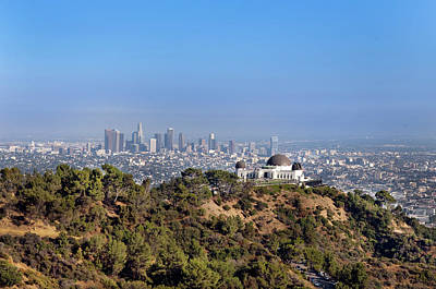 Griffith Park Observatory And Downtown Los Angeles Art Print by Mark Harris