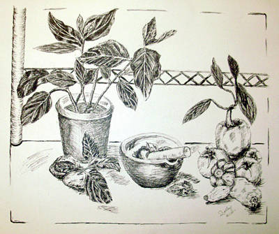 Drawing - Grinding Herbs by Shelley Bain