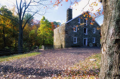 Stone Buildings Photograph - Gristmill Fall Scenic by George Oze