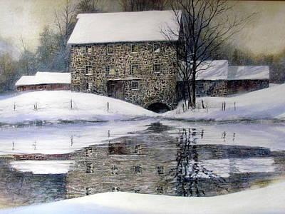 Painting - Gristmill In Winter by Milan Melicharek