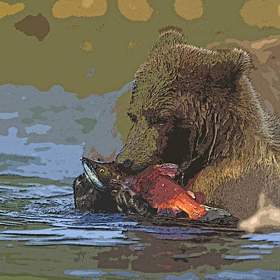 Brown Bear Digital Art - Grizzly Bear With A Salmon- Abstract by Tim Grams