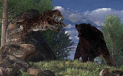 Digital Art - Grizzly Vs. Saber-tooth by Daniel Eskridge