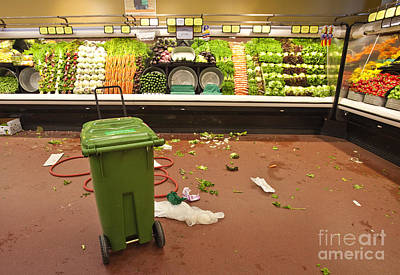 Mess Photograph - Grocery Store Produce Aisle After Hours by David Buffington