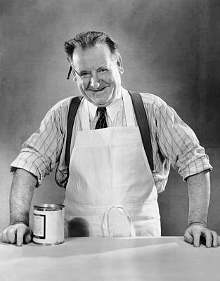 Grocery Store Salesman W/can On Counter Art Print by George Marks