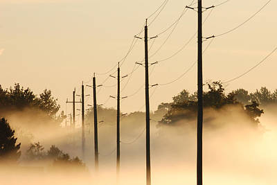 Ground Fog With High Wires Art Print by Bruce Kenny
