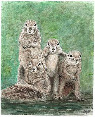 Groundhog Family Art Print by Louise Miller