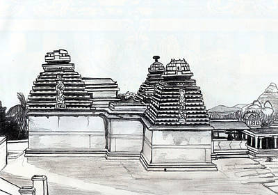 Shashi Kumar Drawing - Group Of Jain Temples Hampi by Shashi Kumar