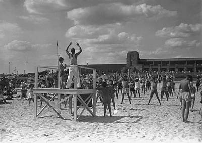 Group Of People Exercising On Beach, (b&w) Art Print by George Marks