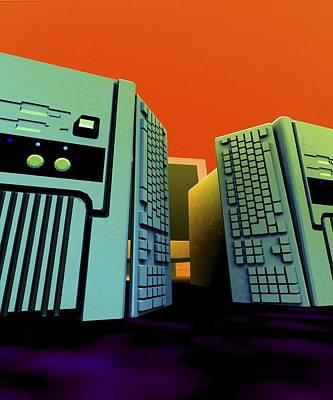 Group Of Personal Computers, Artwork Art Print by Christian Darkin