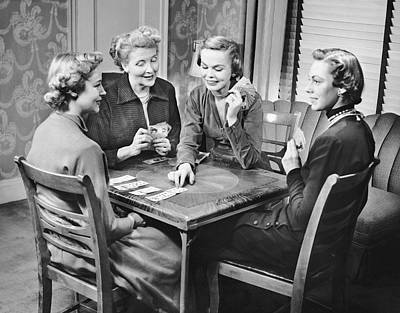 Group Of Women Playing Cards Art Print by George Marks