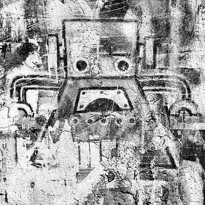 Bot Digital Art - Grunge Fem-bot by Roseanne Jones