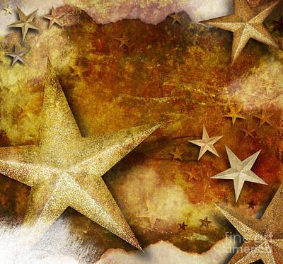 Grunge Golden Sparkle Star Background Art Print by Angela Waye