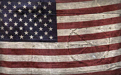 Photograph - Grungy Textured Usa Peace Sign Flag by John Stephens