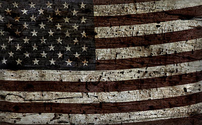 Photograph - Grungy Wooden Textured Usa Flag2 by John Stephens
