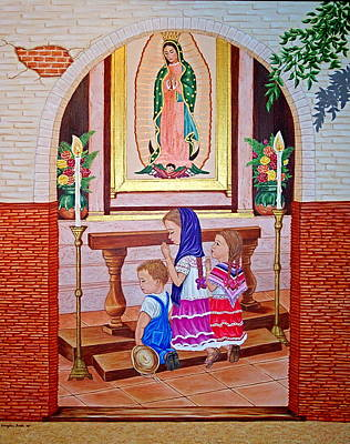 Art Print featuring the painting Guadalupe Y Ninos by Evangelina Portillo
