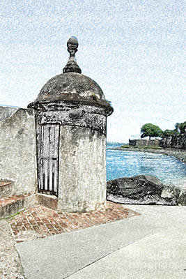 Guard Post Castillo San Felipe Del Morro San Juan Puerto Rico Colored Pencil Art Print