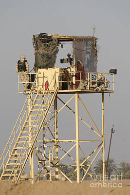 Netting Photograph - Guard Tower Manned By Georgian Soldiers by Terry Moore