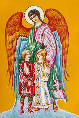 Guardian Angel For Children Art Print by Aleksandr Volkov