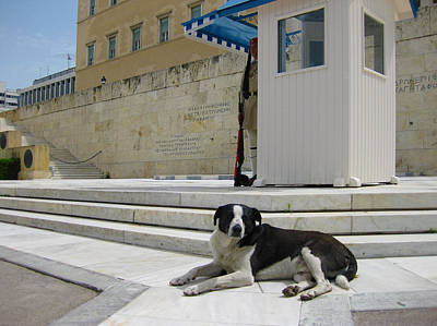 Square Photograph - Guarding The Greek Budget by Nop Briex