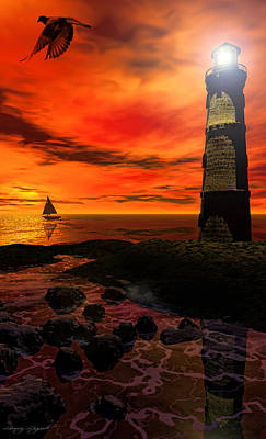 Sunset Digital Art - Guiding Light - Lighthouse Art by Lourry Legarde