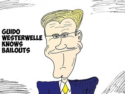 Financial Mixed Media - Guido Westerwelle Caricature by OptionsClick BlogArt