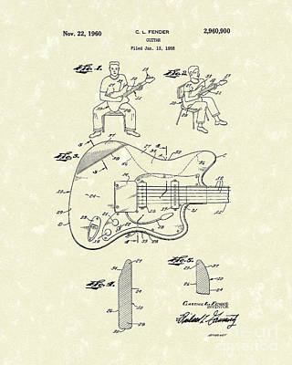 Electric Drawing - Guitar 1960 Patent Art by Prior Art Design