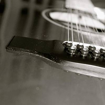 String Instrument Photograph - guitar close up in BW by Justin Connor