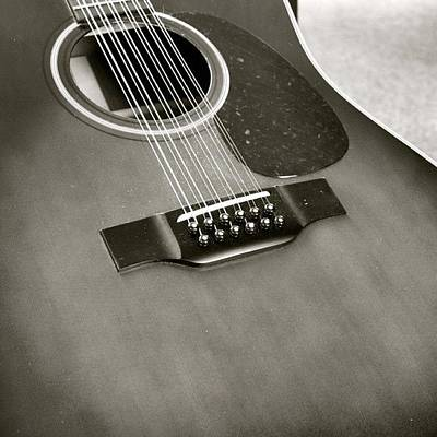 String Instrument Photograph - Guitar In Black And White by Justin Connor