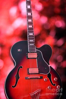 Guitar In Red Print by Sophie Vigneault