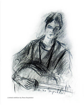 Drawing - Guitar In Thought by Reza Sepahdari