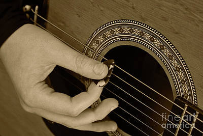 Photograph - Guitar Picking Sepia by Michael Waters