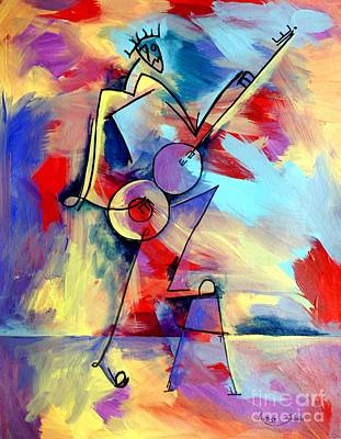 Guitar Player In Letters Original by Artist Singh