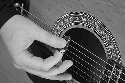 Photograph - Guitar Playing Black And White by Michael Waters