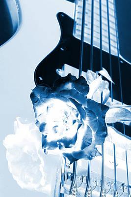 Photograph - Guitar Rose Blue Tint by M K Miller