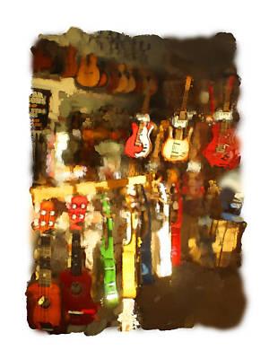 Digital Art - Guitar Shop by Geoff Strehlow