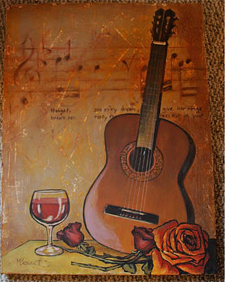 Guitar Wine And Roses Original by Martha Bennett