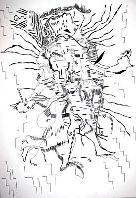 Art Print featuring the drawing Gule Wamkulu - Malawi by Gloria Ssali