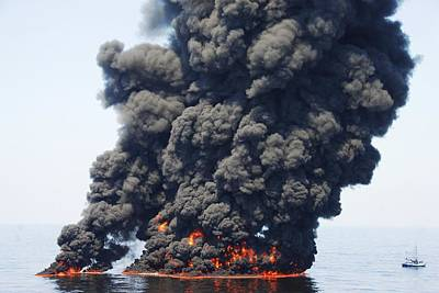 Flaming June Photograph - Gulf Of Mexico Oil Spill Burn-off, 2010 by U.s. Coast Guard