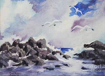 Rocks. Tidal Pool Painting - Gulls by Joan Putnam
