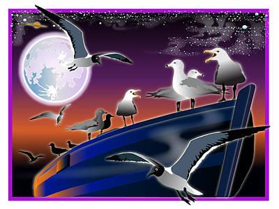 Wall Art - Digital Art - Gulls Night Out by Jack Potter