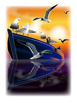 Wall Art - Digital Art - Gulls Reflected by Jack Potter
